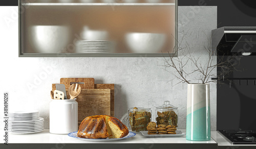 Fototapeta Worktop in kitchen with sweets, cake and cookies, 3d illustration, 3d rendering obraz