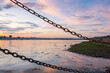 Beautiful HDR Sunset behind chains, Warshash England