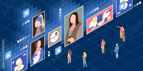 Obraz Vector isometric illustration of a modern digital museum - fototapety do salonu