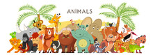 Large Group Of Animals In Cartoon Flat Style Stand Together. World Fauna. Vector Illustration