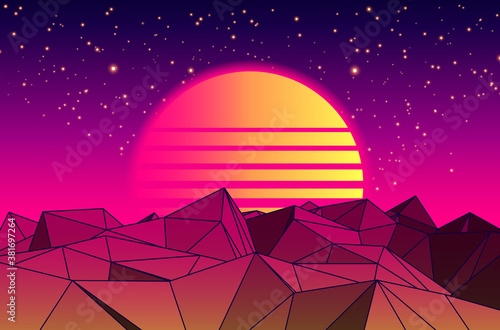 Vector Futuristic illustration of Planet with Mountains and Cityscape in Retro Style. Retro. Digital Landscape in a Cyber world. Retro 80s Fashion Sci-Fi Background Cityscape. Use as Music Album Cover #381697264