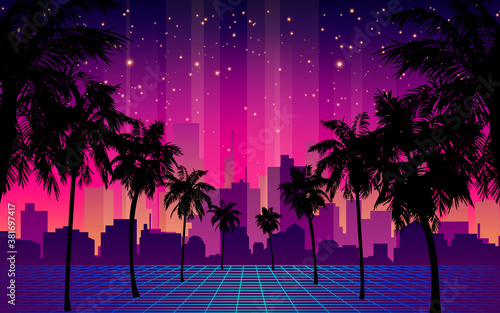 80s Futuristic Retro Future. Retro Futuristic Background 1980s Style with Palm Tree Silhouette. Road to the City at Sunset 1980s Style. Digital Retro Cityscape Fashion Sci-Fi Summer Landscape.