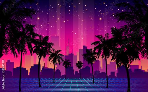 80s Futuristic Retro Future. Retro Futuristic Background 1980s Style with Palm Tree Silhouette. Road to the City at Sunset 1980s Style. Digital Retro Cityscape Fashion Sci-Fi Summer Landscape. #381697417