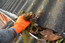 A Man In Gloves Is Cleaning A Blocked Rain Gutter Attached To The Asbestos Roof By Removing Fallen Leaves, Debris, Dirt And Moss To Avoid Roof Gutter Problems And Water Damage.
