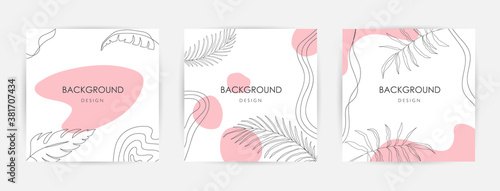 Trendy abstract square art templates with floral and geometric elements. Suitable for social media posts. Elegant continuous line drawing. Minimal Set of abstract creative universal artistic templates