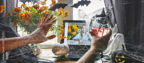 Valokuvatapetti Halloween online holiday remote celebration halloween in lockdown coronavirus qu