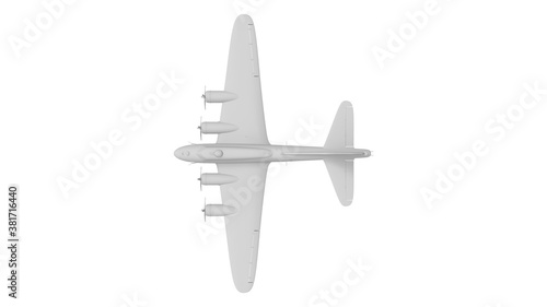 Canvas-taulu 3D rednering of a world war two bomber plane white model