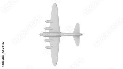 Slika na platnu 3D rednering of a world war two bomber plane white model