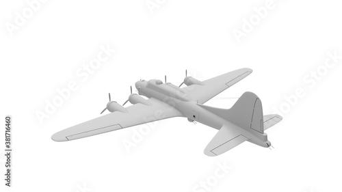 Vászonkép 3D rednering of a world war two bomber plane white model