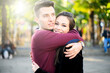 Young couple hugging outdoor with love