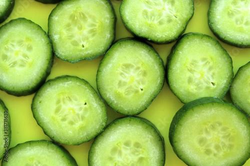 Fototapeta slices of cucumber top view