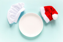 White Empty Plate With Santa H...