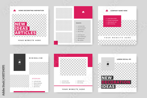 Obraz Clean and elegant social media templates pack with magenta background elements. Instagram posts for business with place for photos - fototapety do salonu