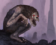 Digital Painting Of A Creepy Demon Creature In An Underground Cave With Glowing Red Eyes - Digital Fantasy Illustration