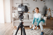 Fitness Woman Blogger Recordin...