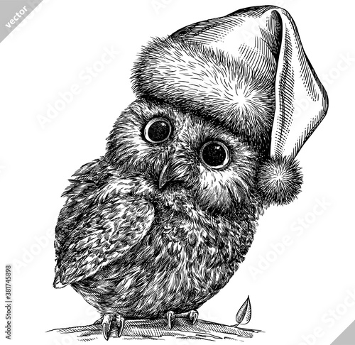 Foto black and white engrave isolated owl vector illustration