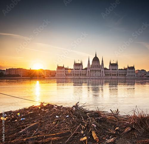 Fototapeta Wonderful sunset over the Hungarian Parliament in Budapest, Hungary