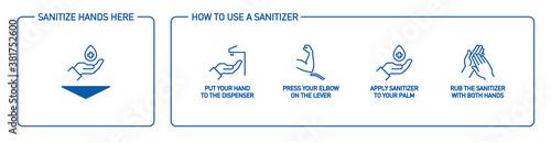 Fotografia, Obraz WebInfographic illustration of How to use hand sanitizer properly