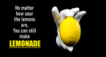 Inspirational Phrase About Lemons And Lemonade On A Dark Background With Isolated Lemon - Motivation