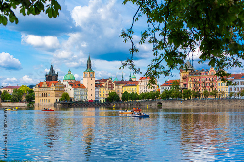 The landscape of the city of Prague view from the Vltava river on the ancient ar Canvas Print