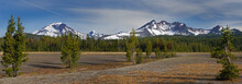 Panorama Of Three Sisters And Broken Top Mountains From Dutchman Flat