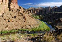 Smith Rock Red Wall With Crooked River In Oregon