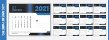 Blue Desk Calendar For 2021 De...