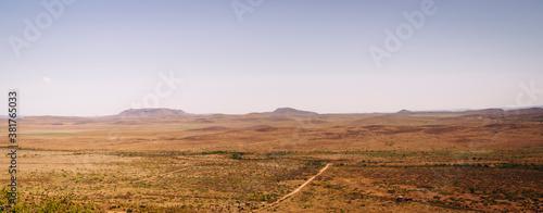 Panoramic landscape of West Texas desert.