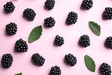 Tasty Ripe Blackberries And Le...