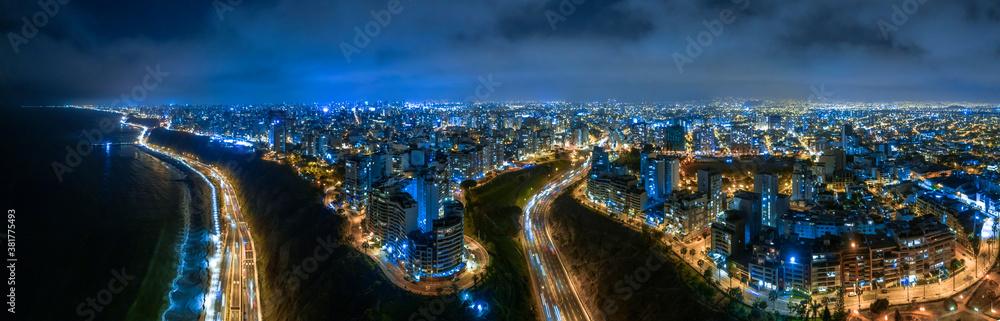 Fototapeta Night panoramic view of the Costa Verde high way, San Miguel - Lima, Peru.