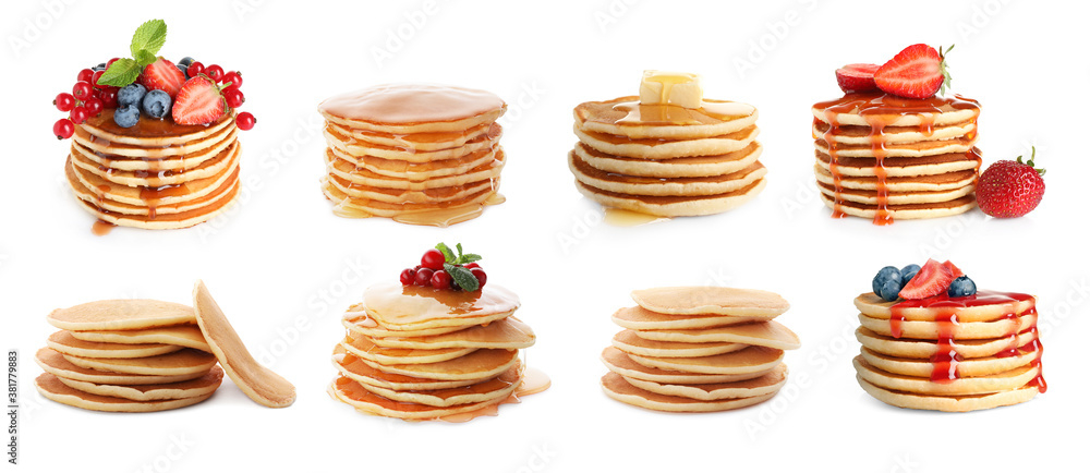 Fototapeta Set of delicious pancakes with different toppings on white background, banner design