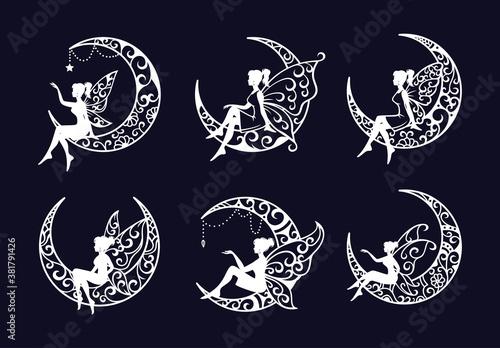 Set of fairy and crescent moon cut file illustration Fototapet