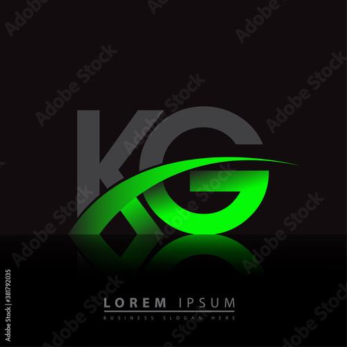 Fototapeta initial letter KG logotype company name colored green and black swoosh design
