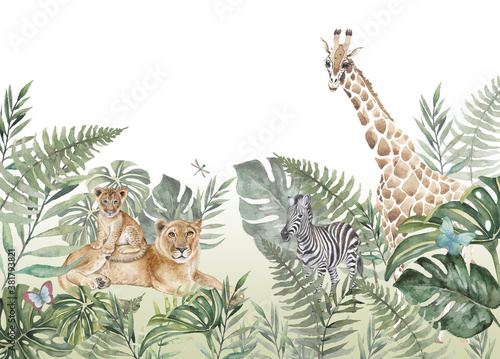 Fototapeta Children's wallpaper, animals in the jungle