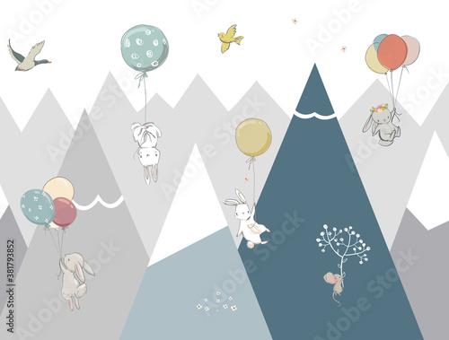 children-s-wallpaper-mountains-animals-on-balloons