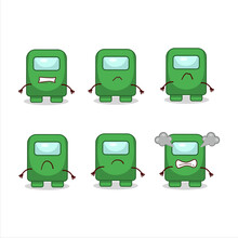 Among Us Green Cartoon Character With Various Angry Expressions