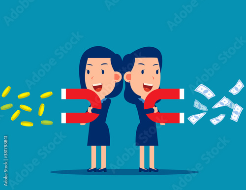 Business people use a magnet to attract money Wallpaper Mural