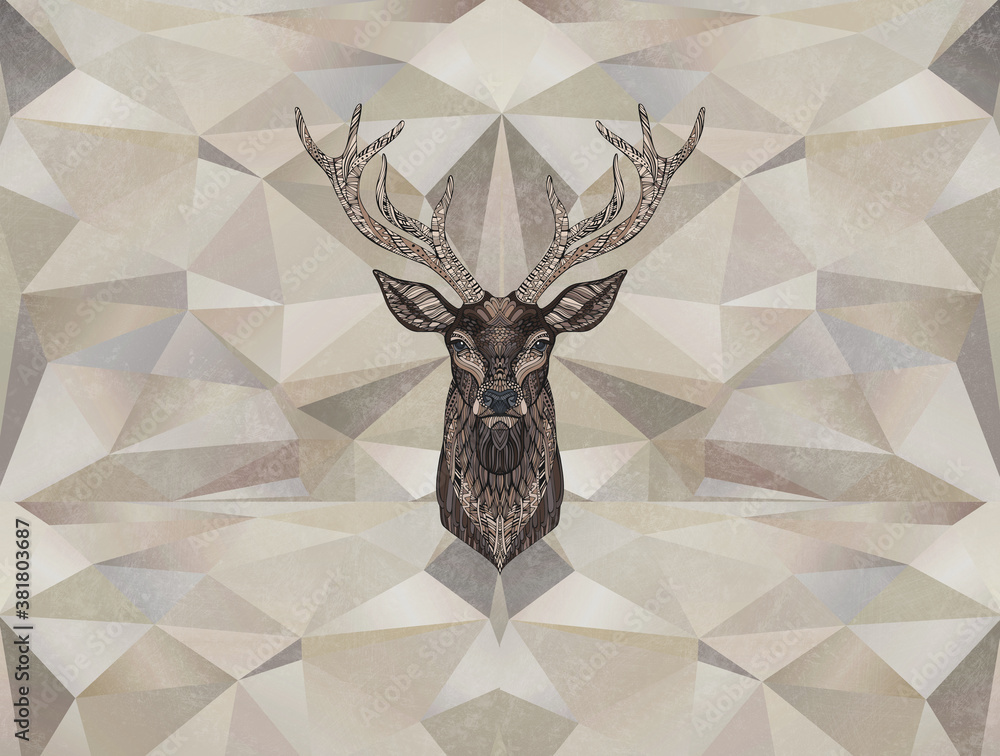 Deer on a background of geometry, brown shades