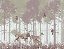 Children's Wallpaper, Deer In ...
