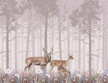 Children's Wallpaper, Deer In The Pink Forest