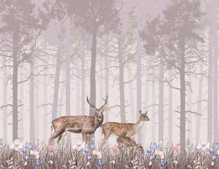 Children's wallpaper, deer in the pink forest