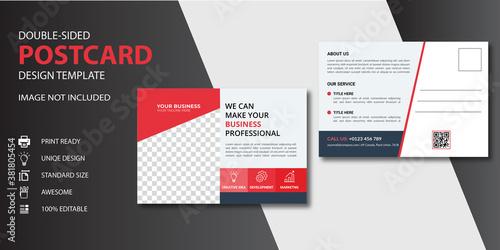Fototapeta Red Corporate business postcard or EDDM postcard design template obraz