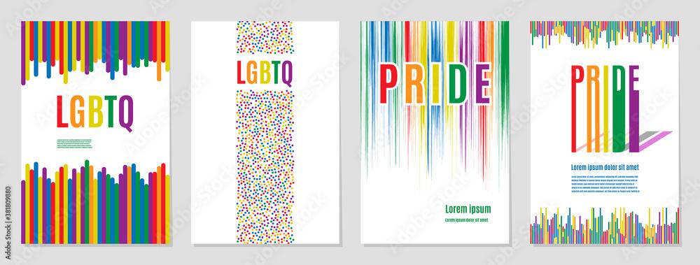 Fototapeta Lgbtq rainbow flag freedom community, pride pattern on white background, colorful cover illustration.