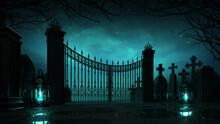 Cemetery Entrance Gate With Glaring Lanterns Around At Dark Night. Halloween Holiday Theme 3d Background Illustration.