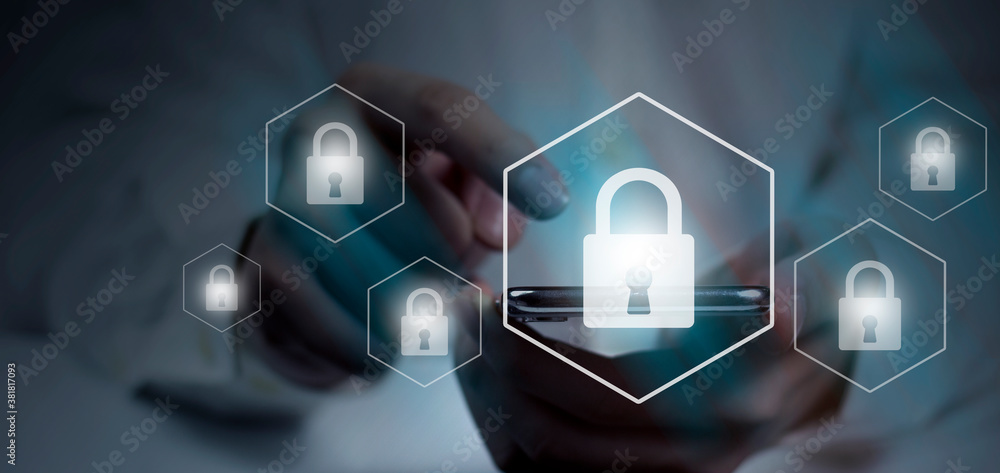 Fototapeta concept cyber security internet, user writing password on smartphone. data protection from hacker, digital crime for background