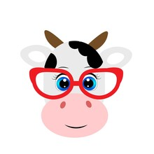Cute Cartoon Animal With Red Glasses Vector Illustration