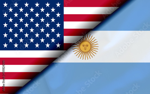 Fototapeta Flags of the USA and Argentina Divided Diagonally