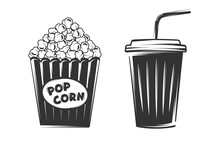 Pop Corn And Disposable Cup Isolated On White Background