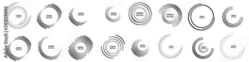 Obraz Halftone dots in circle form. round logo . vector dotted frame . Half tones design element - fototapety do salonu