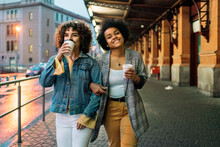 Afro Girl And Friend In Street